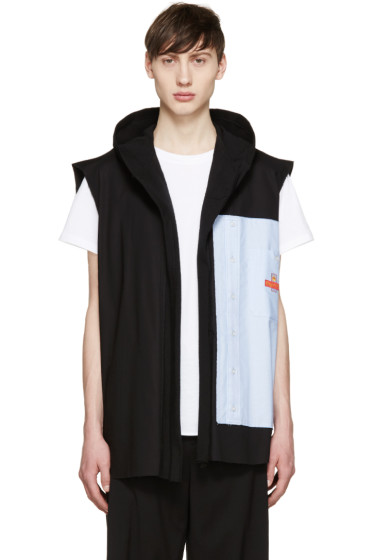 Off-White - Black Deconstructed Hooded Shirt