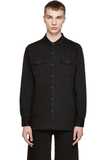 Off-White - Black Denim Logo Shirt