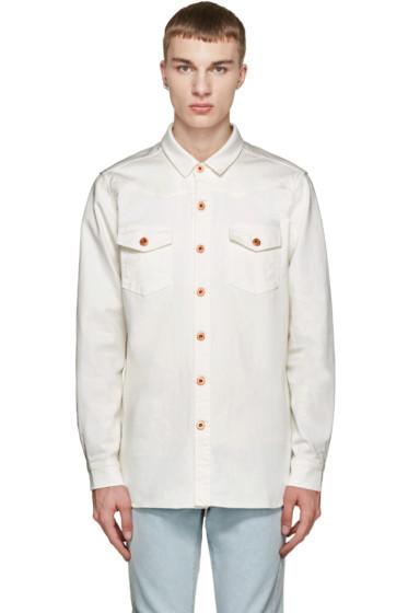 Off-White - White Denim Logo Shirt
