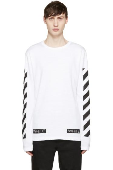 "Off-White - White ""Blue Collar"" T-Shirt"