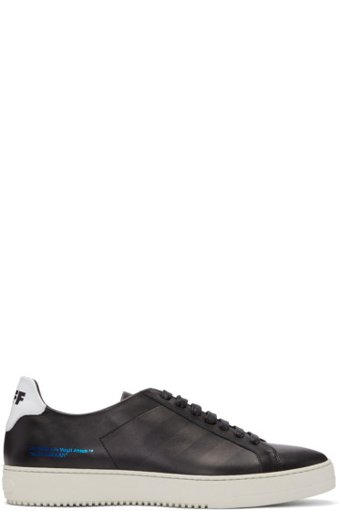 Off-White - Black Leather Diagonals Sneakers