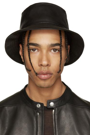 11 by Boris Bidjan Saberi - Black Leather Bucket Hat