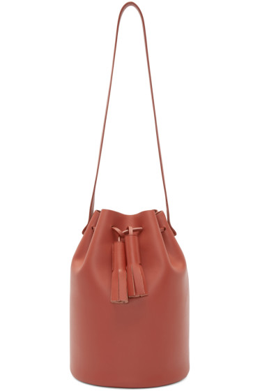 Building Block - Red Leather Bucket Bag