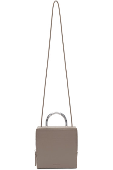 Building Block - Taupe & Chrome Leather Box Bag