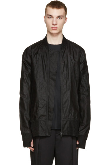 Nude:mm - Black Linen Bomber Jacket
