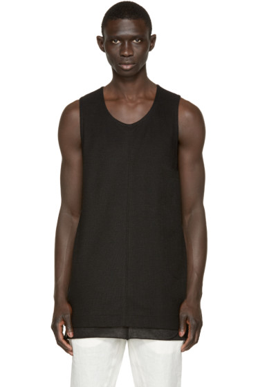 Nude:mm - Black Open Knit Tank Top