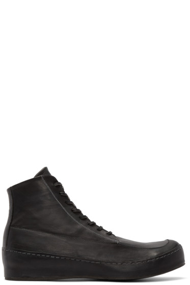 Nude:mm - Black Leather High-Top Sneakers