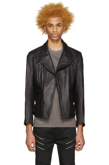 Blackmeans - Black Leather Biker Jacket