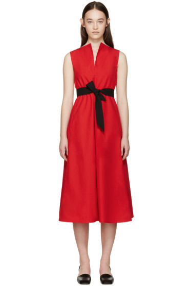 Lemaire - Red Poplin Flared Dress