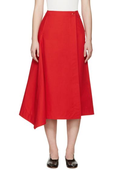 Lemaire - Red Poplin Wrap Skirt