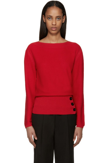 Lemaire - Red Crepe Knit Sweater