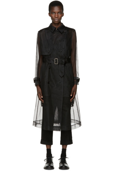 Noir Kei Ninomiya - Black Tulle & Lace Trench Coat