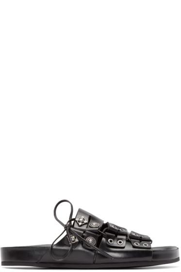 Toga Virilis - Black Leather Embellished Sandals
