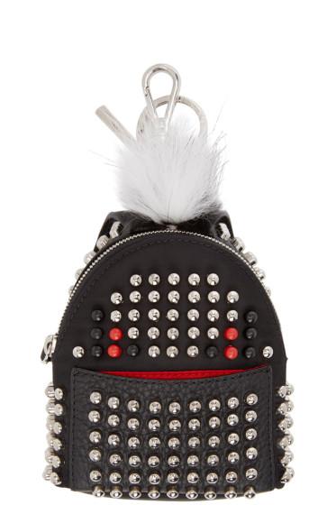 Fendi - Black Fur-Trimmed Studded Backpack Keychain