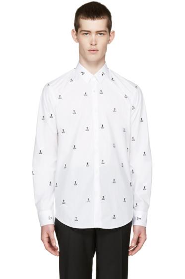 Fendi - White Embroidered Monster Shirt