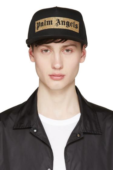 Palm Angels - Black Glitter Logo Mitchell & Ness Edition Cap