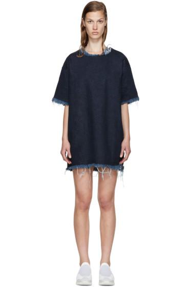 Marques Almeida - Indigo Denim Frayed T-Shirt Dress