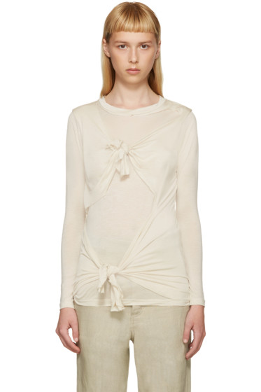 Marques Almeida - Beige Slashed & Knotted Shirt