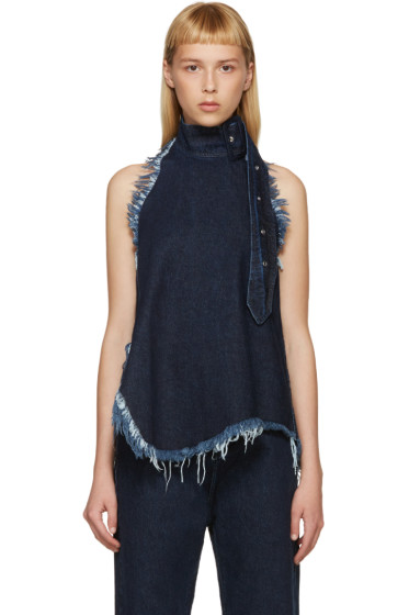 Marques Almeida - Indigo Denim Halter Top