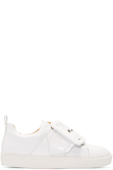 Marques Almeida - White Leather Buckle Sneakers