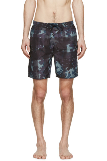 Burberry Brit - Navy Camouflage Mega Check Swim Shorts