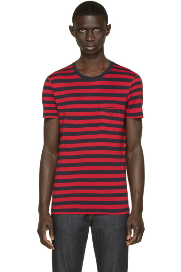 Burberry Brit - Navy & Red Striped T-Shirt