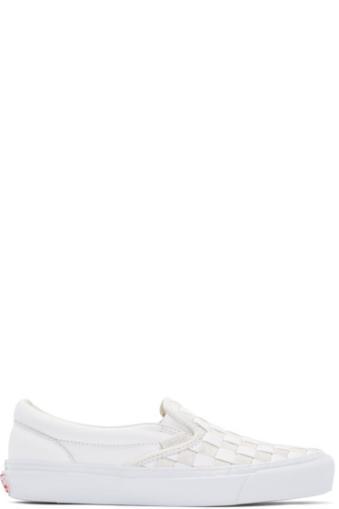 Vans - White & Beige 50th OG Classic Slip-On LX Sneakers