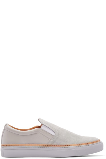 No.288 - Grey Suede & Leather Houston Slip-On Sneakers