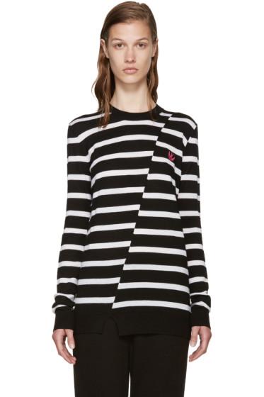 McQ Alexander Mcqueen - Black & White Distort Striped Sweater