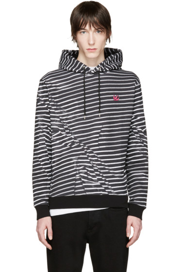 McQ Alexander Mcqueen - Black & White Striped Clean Hoodie