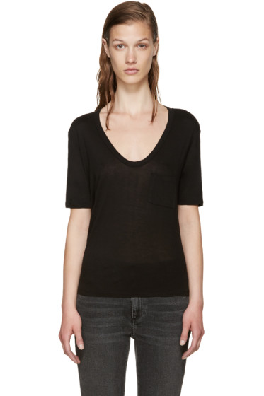 T by Alexander Wang - Black Cropped Pocket T-Shirt