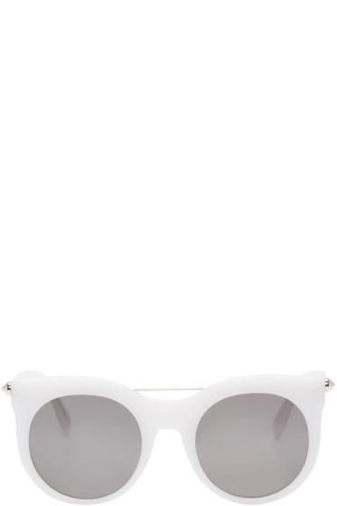 Alexander McQueen - White Round Sunglasses