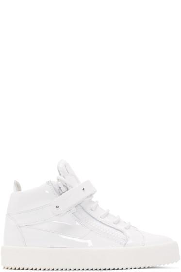 Giuseppe Zanotti - White Patent Leather London High-Top Sneakers