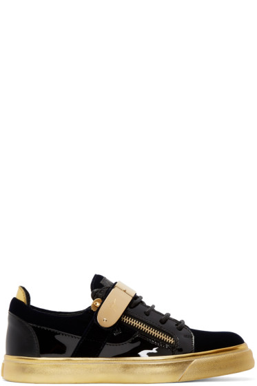 Giuseppe Zanotti - Navy & Black Velvet London Sneakers