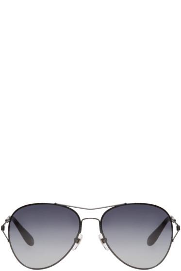 Givenchy - Black Wire-Frame Aviator Sunglasses