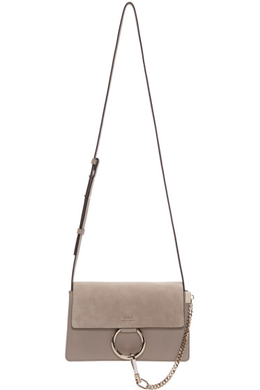 Chloé - Grey Leather & Suede Small Faye Bag