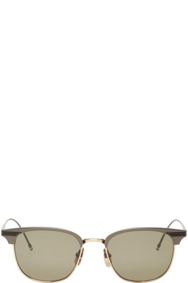 Thom Browne - Gunmetal & Gold Round TB-104 Sunglasses