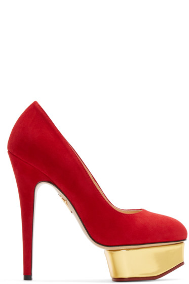 Charlotte Olympia - Red Suede Platform Dolly Heels