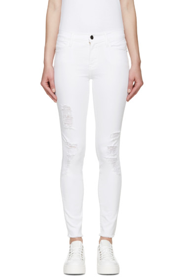 Frame Denim - White Skinny Le High Jeans