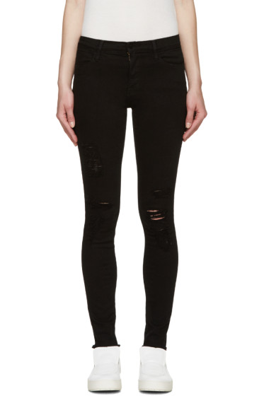 Frame Denim - Black Skinny Le High Jeans