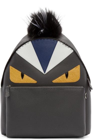 Fendi - Black Fur-Trimmed Monster Backpack
