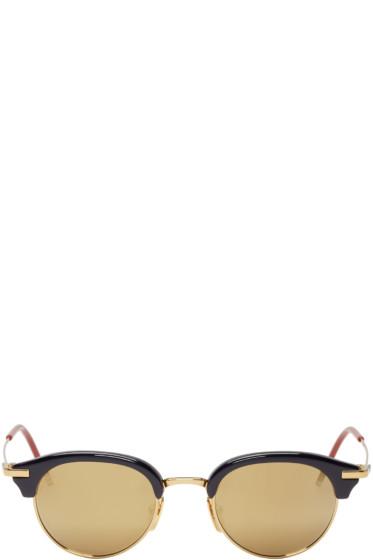 Thom Browne - Navy & Gold Round Sunglasses