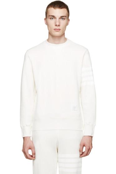 Thom Browne - Ivory Striped Sleeve Sweatshirt