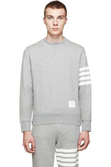 Thom Browne - Grey Striped Sleeve Sweatshirt