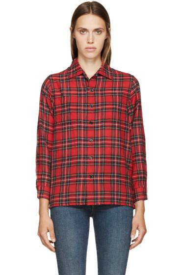 Saint Laurent - Red Plaid Wool Shirt