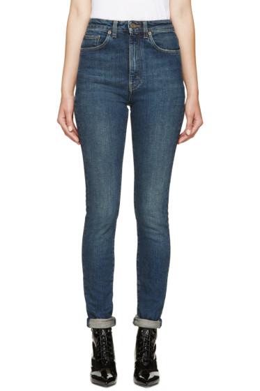 Saint Laurent - Blue High-Waisted Skinny Jeans