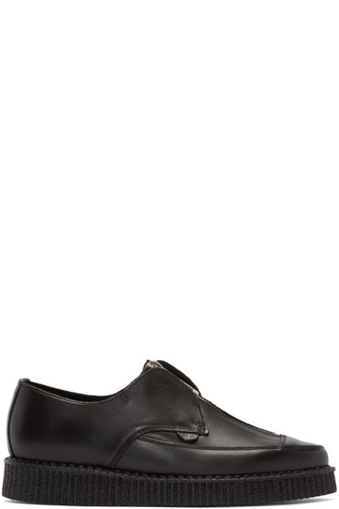 Underground - Black Leather Zip-Up Barfly Creepers