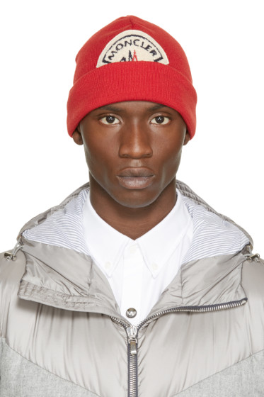 Moncler A - Red Wool Knit Logo Beanie