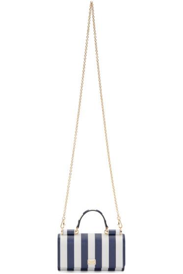 Dolce & Gabbana - White & Navy Striped Chain Wallet