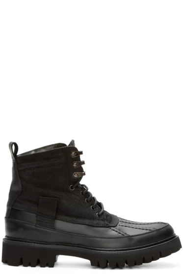 Rag & Bone - Black Leather & Canvas Spencer Boots